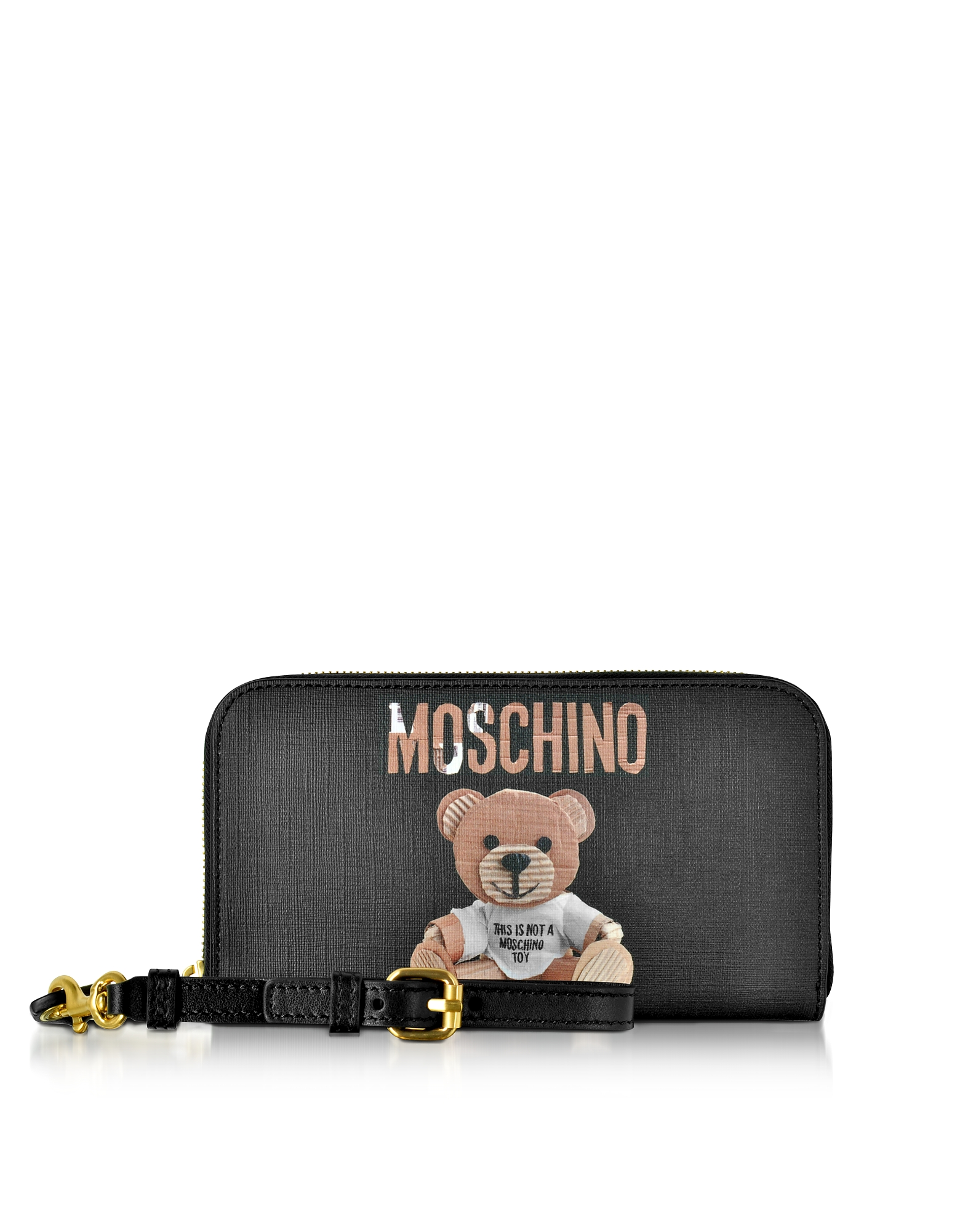 Moschino Handbags, Teddy Bear Saffiano Leather Wallet w/Detachable Wristlet