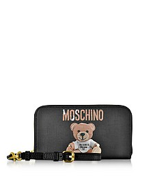 Teddy Bear Brieftasche aus Saffianleder mit abnehmbarem Handgelenksriemchen - Moschino