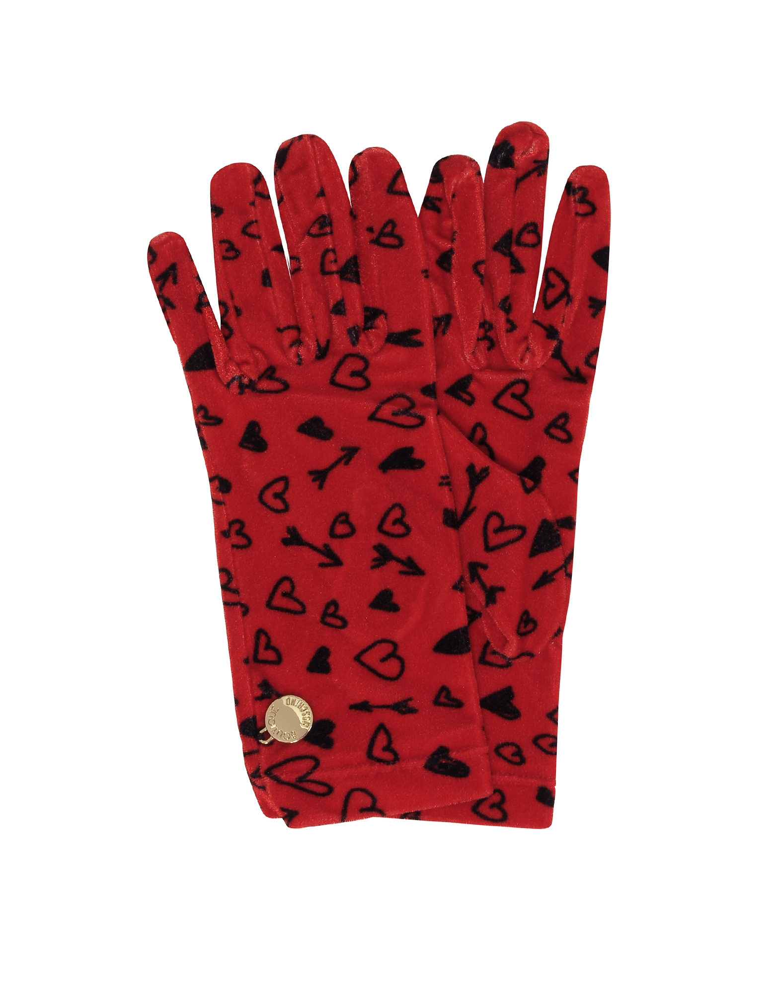 Moschino Women's Gloves, Heart Printed Chenille Gloves