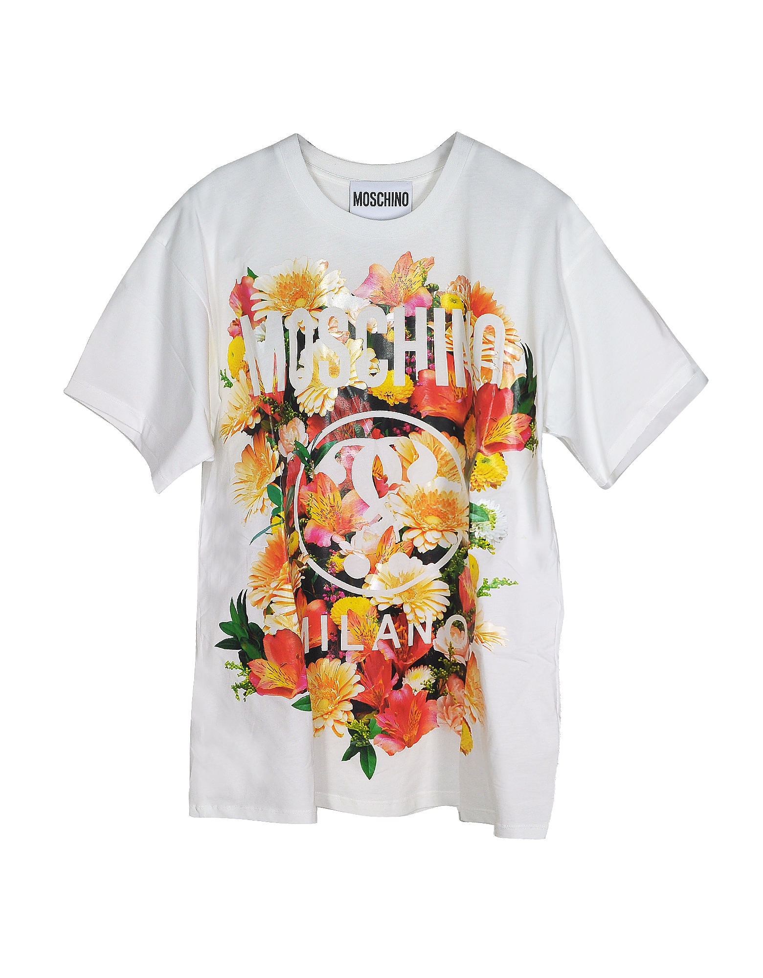 Moschino Designer T-Shirts & Tops, Floral Print Ivory Cotton Oversized Women's T-Shirt