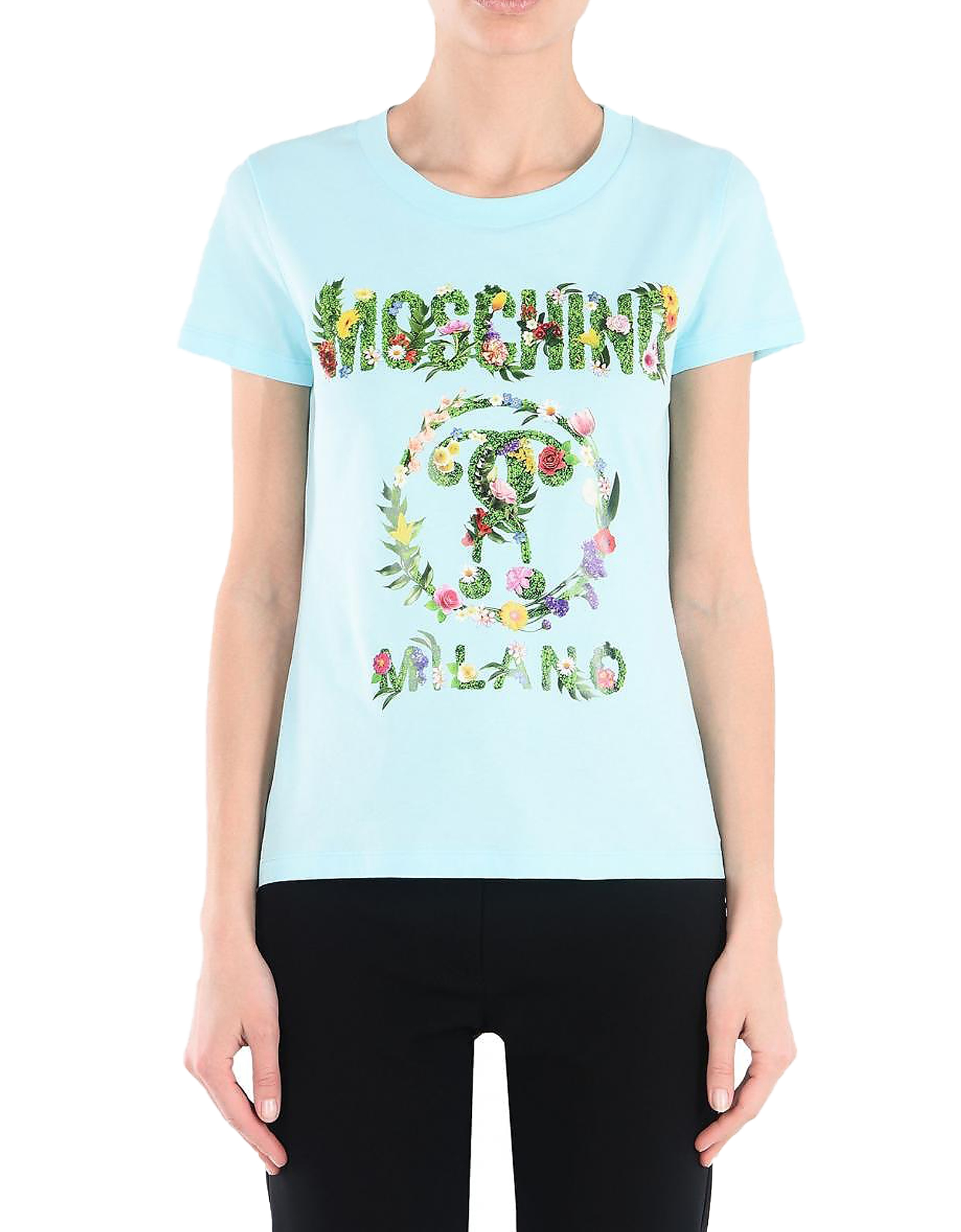 Moschino Designer T-Shirts & Tops, Floral Print Sky Blue Cotton Women's T-Shirt