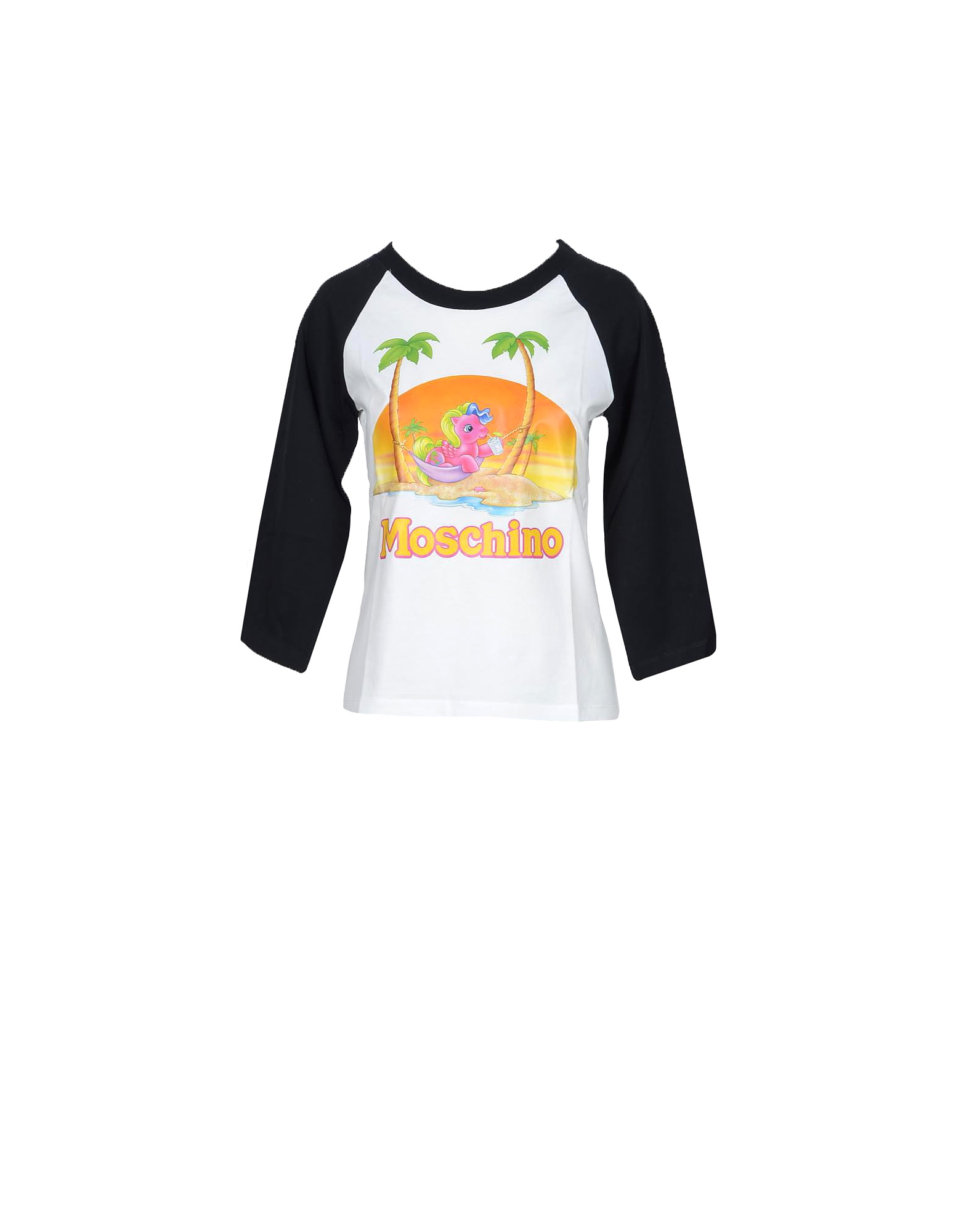 Moschino Designer T-Shirts & Tops, My Little Pony Print Black and White Cotton Women's Long Sleeve T-Shirt