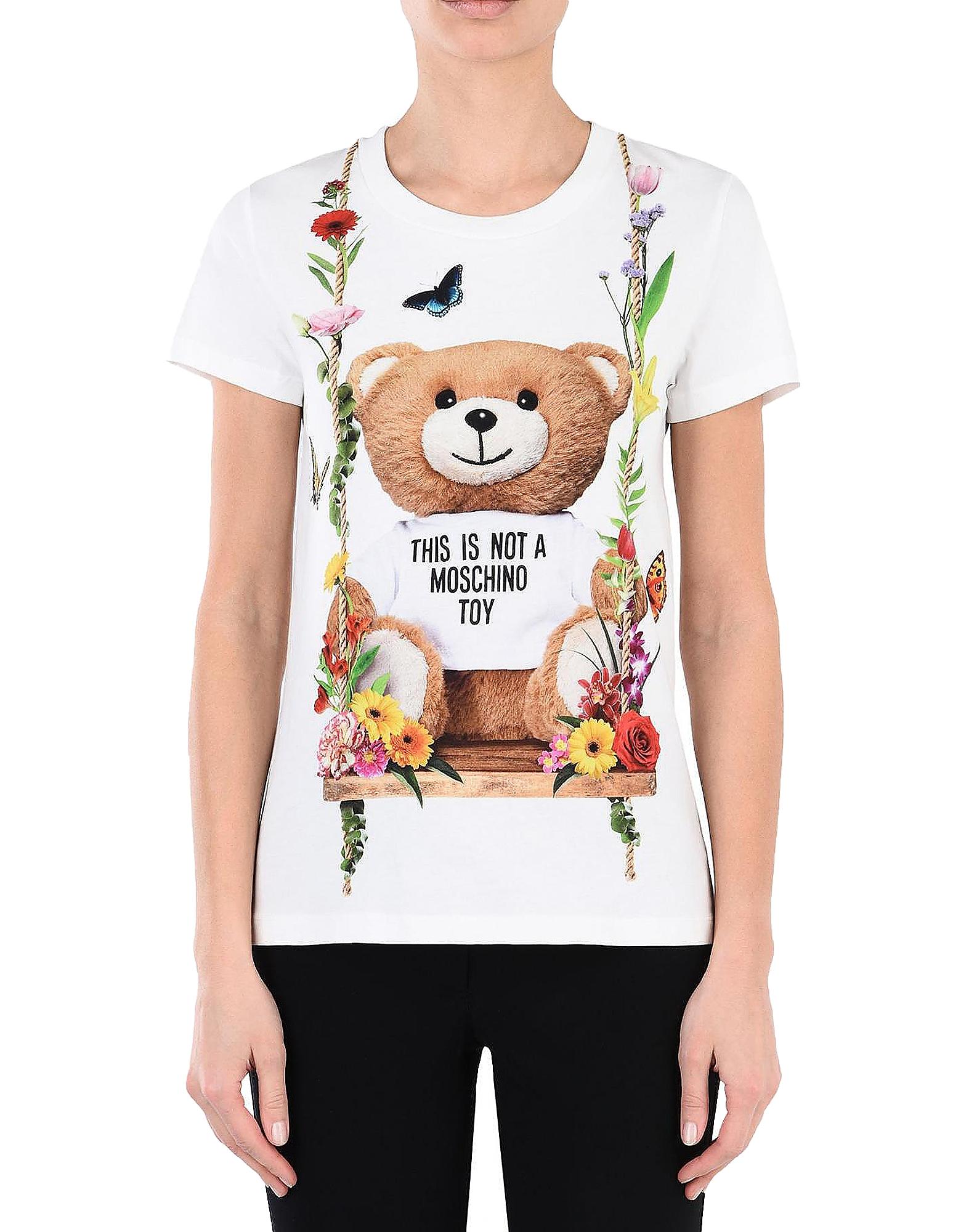 Moschino Designer T-Shirts & Tops, Teddy Bear Print White Cotton Women's T-Shirt