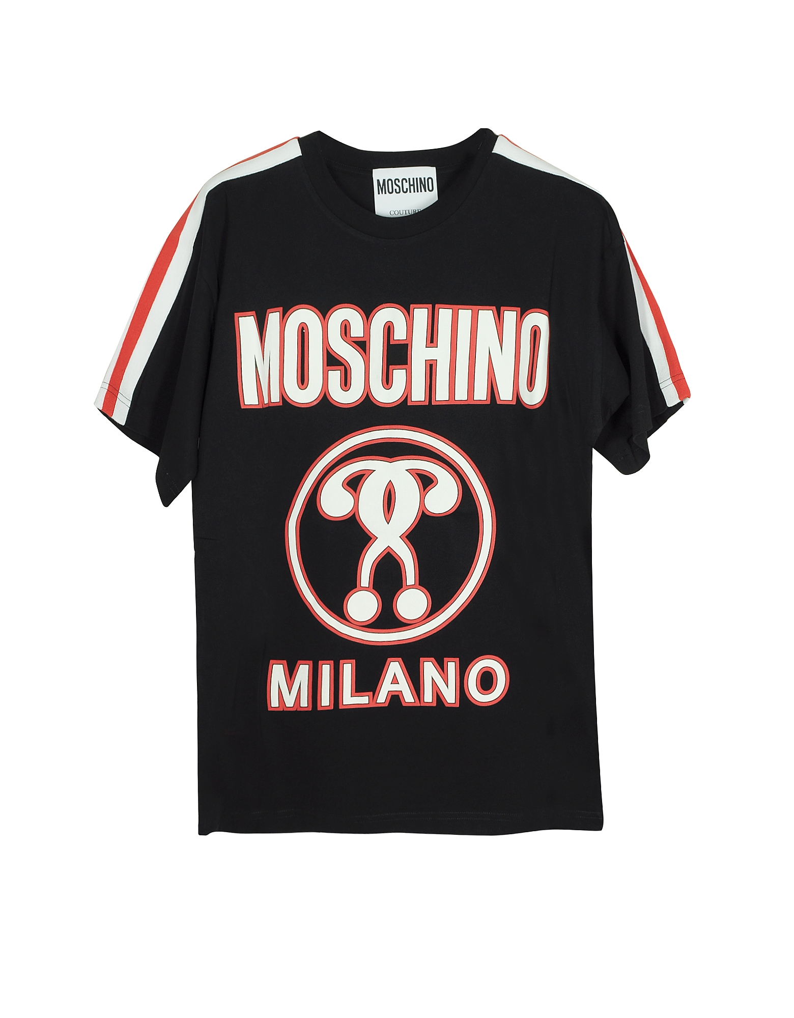 Moschino Designer T-Shirts & Tops, Black Signature Print Cotton Oversized Women's T-Shirt
