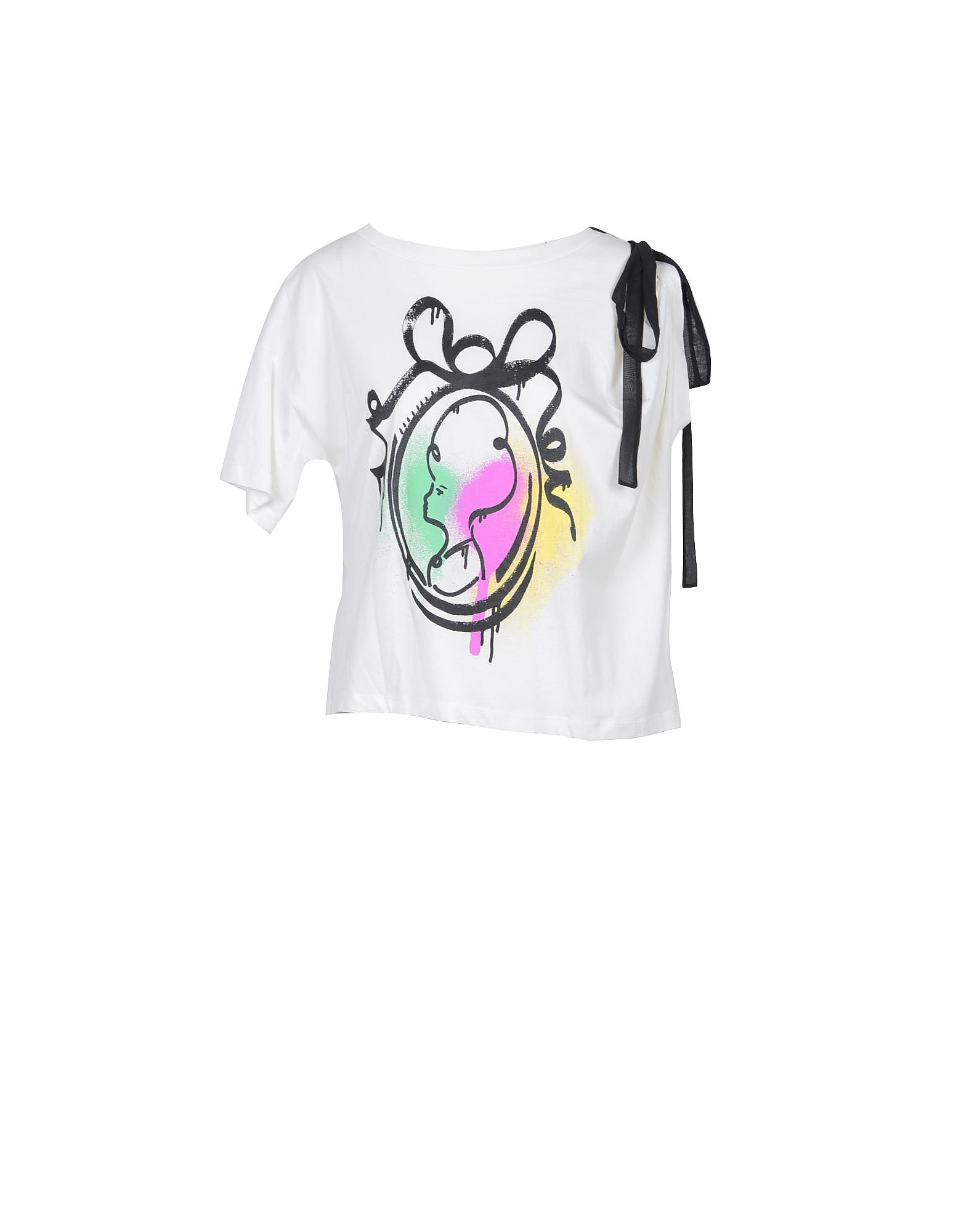 Moschino Designer T-Shirts & Tops, Pop Printed Cotton Moschino Boutique Women's T-Shirt w/Bow