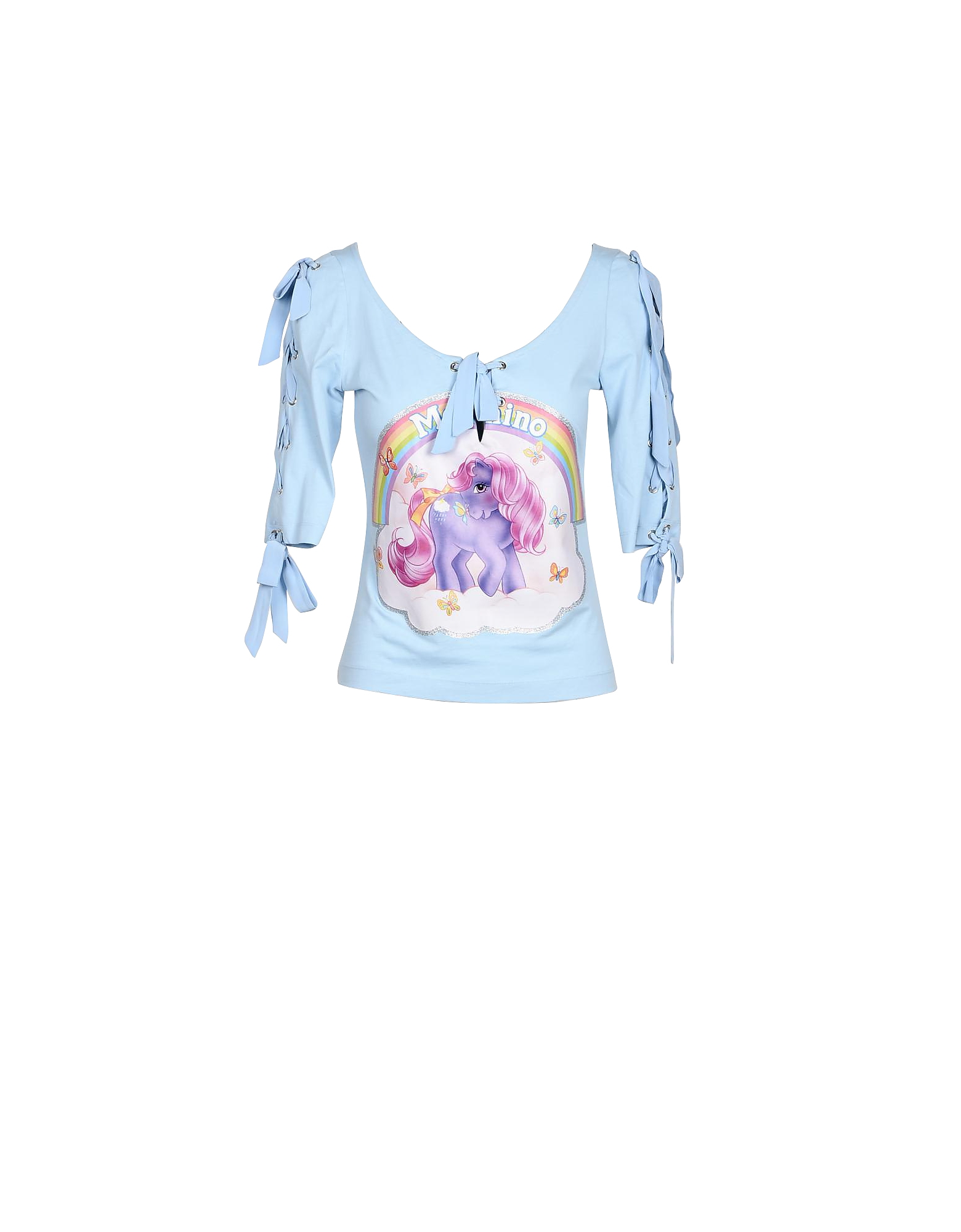 Moschino Designer T-Shirts & Tops, My Little Pony Light Blue Cotton Women's T-Shirt