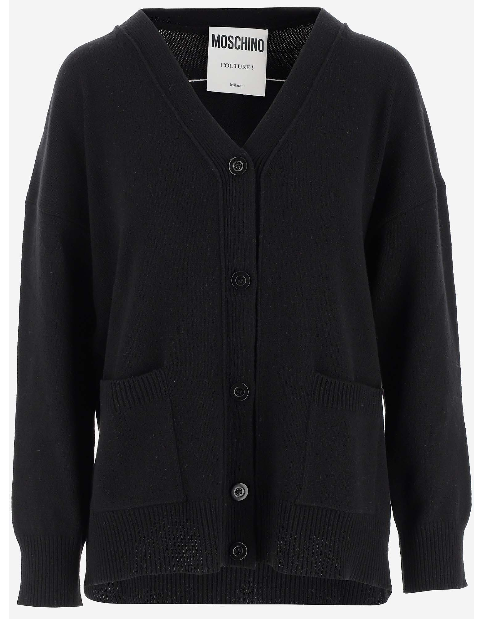 Moschino Designer Knitwear, Black Cashmere Women's Cardigan