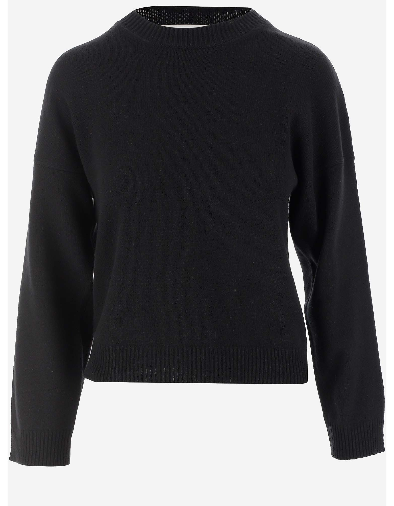 Moschino Designer Knitwear, Black Cashmere Women's Sweater w/Oversized Logo