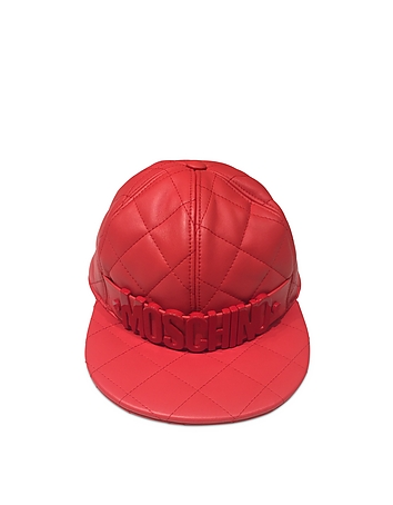 Red Nappa Leather Baseball Hat