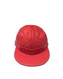 Red Nappa Leather Baseball Hat - Moschino