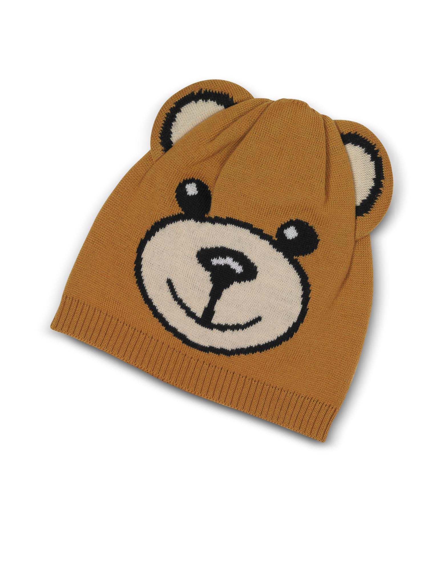 MOSCHINO TEDDY BEAR BROWN WOOL BEANIE