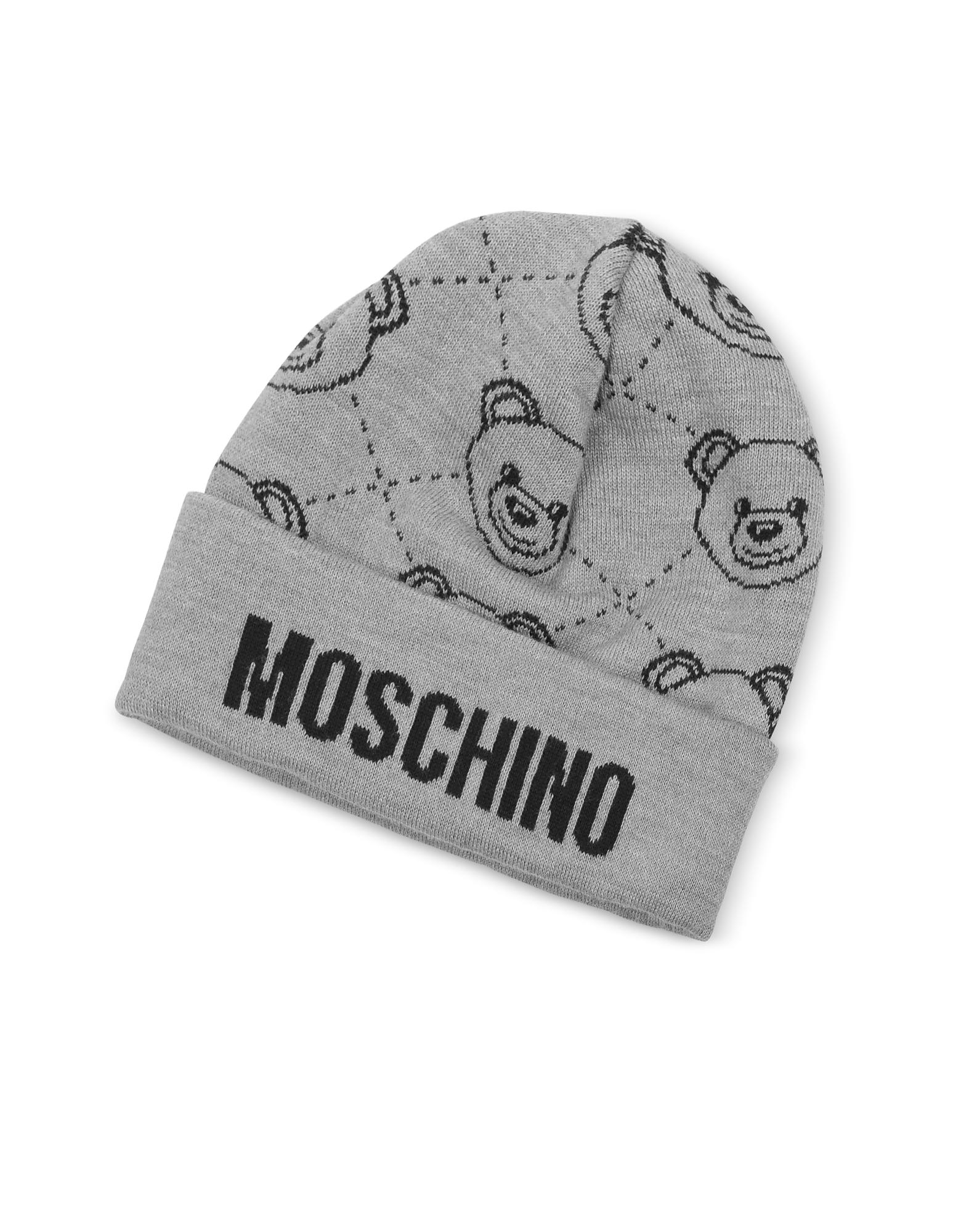 Gray Moschino Beanie w/ Teddy Bear Print