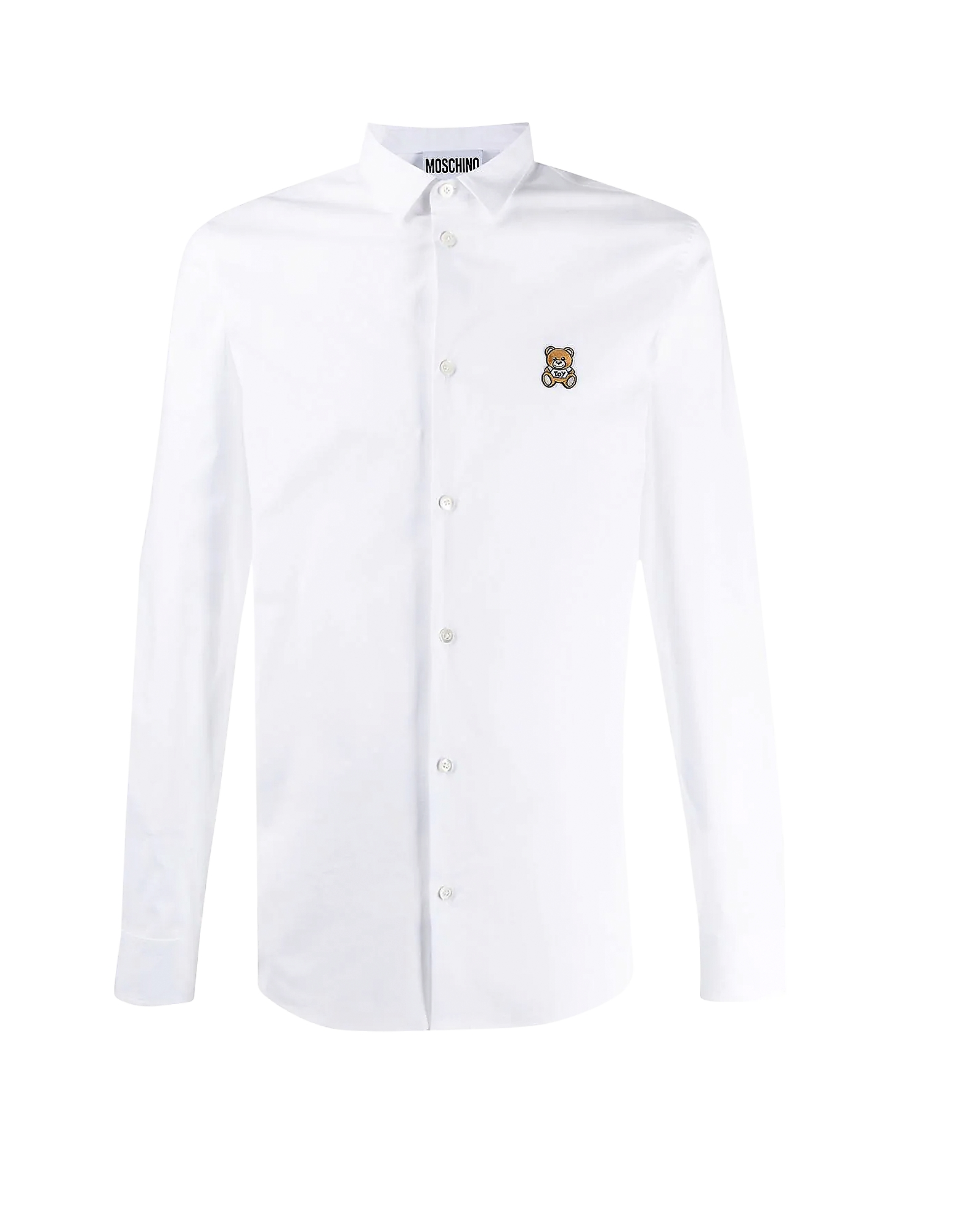 Moschino Designer Shirts, Teddy Bear Embroidered Cotton Men's Slim Fit Dress Shirt
