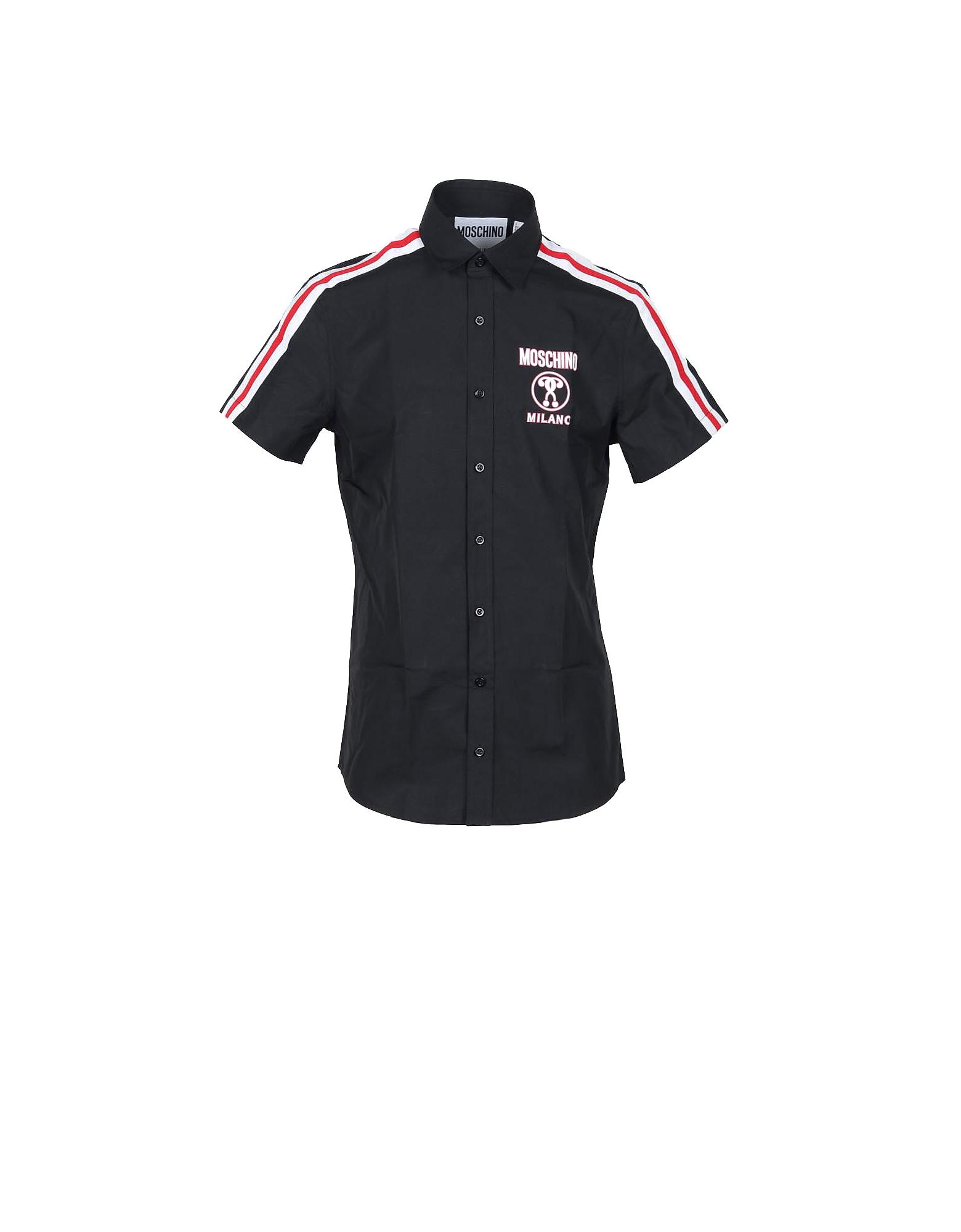 Moschino Designer Shirts, Signature Black Cotton Striped and Signature Short Sleeve Men's Shirt
