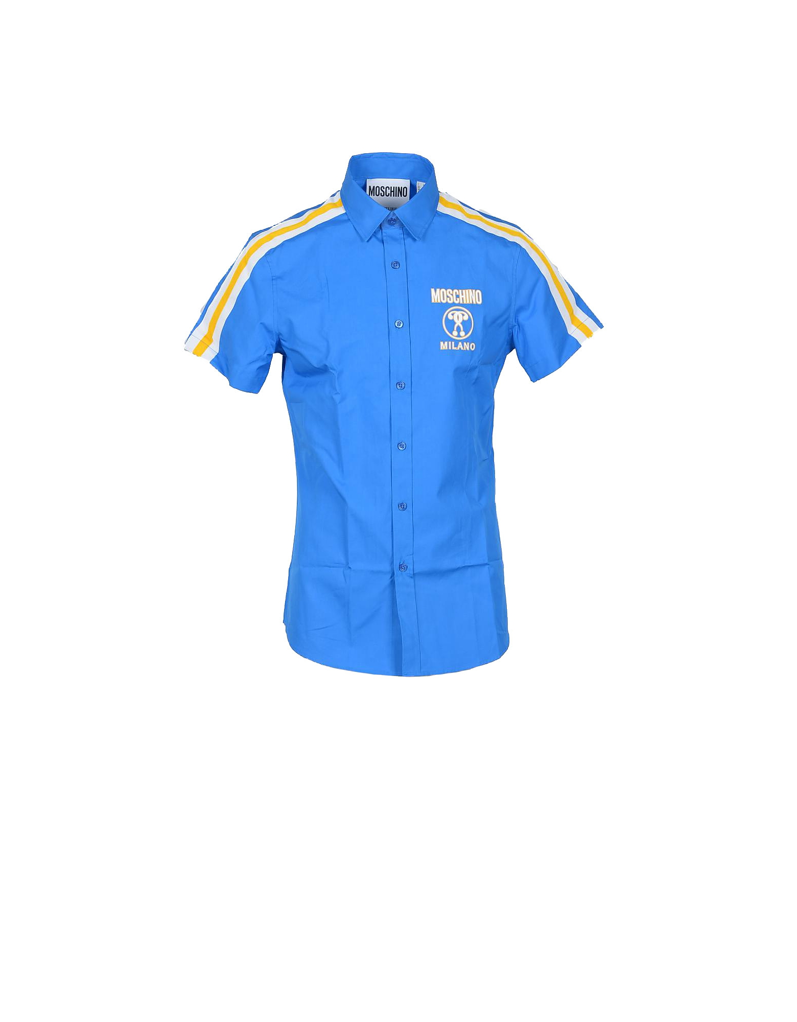 Moschino Designer Shirts, Stripe and Signature Bright Blue Cotton Short Sleeve Men's Shirt