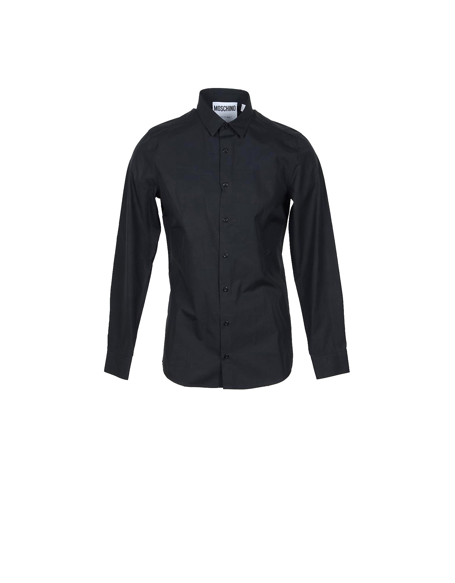 Moschino Designer Shirts, Safety Pin Embroidered Black Cotton Men's Dress Shirt