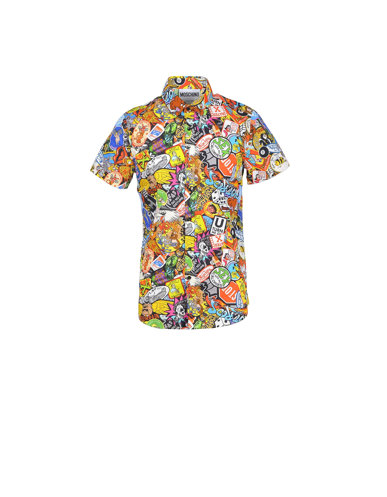 Moschino Designer Shirts, Allover Printed Cotton Short Sleeve Men's Shirt