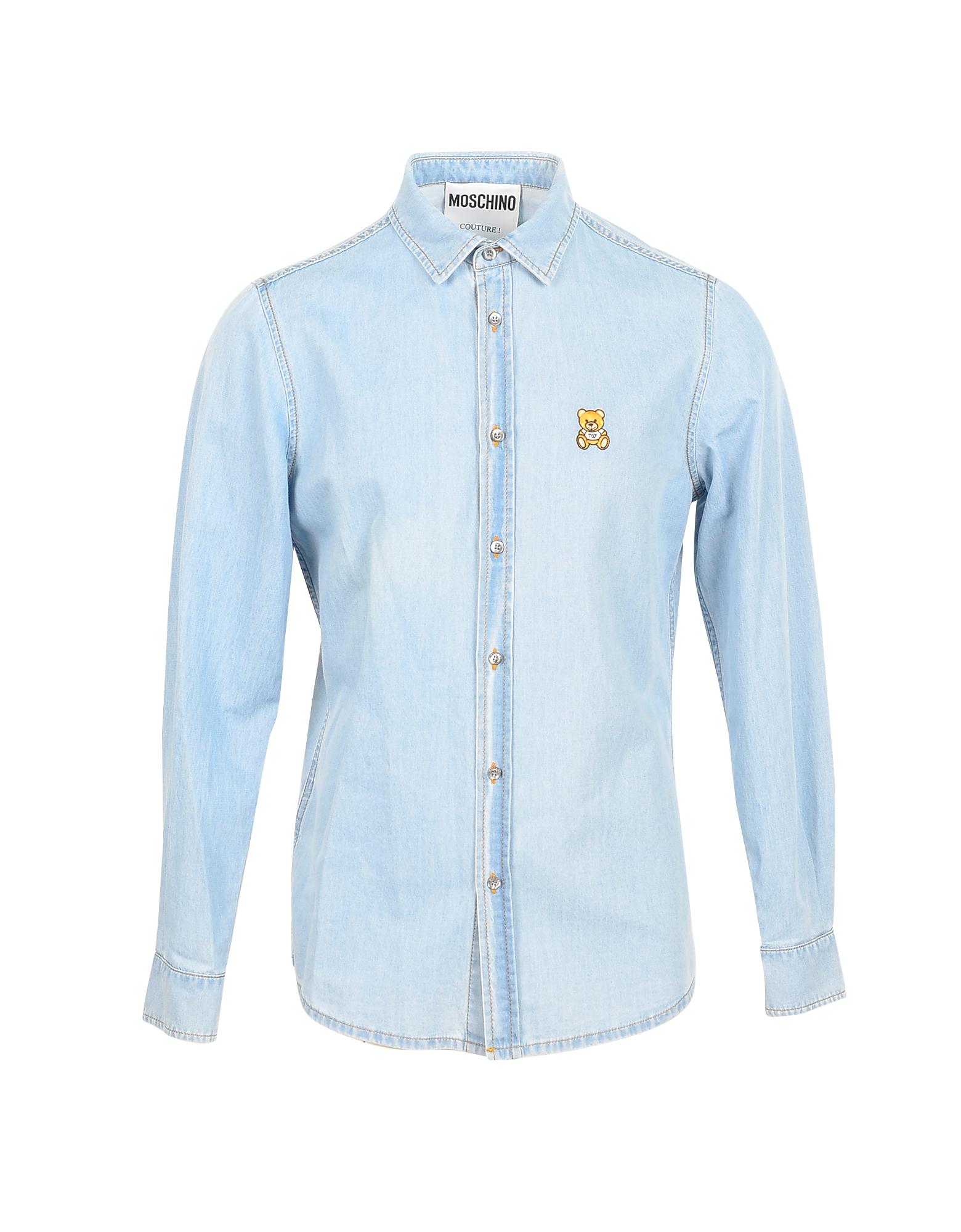 Moschino Designer Shirts, Light Blue Denim Men's Shirt w/Teddy Bear