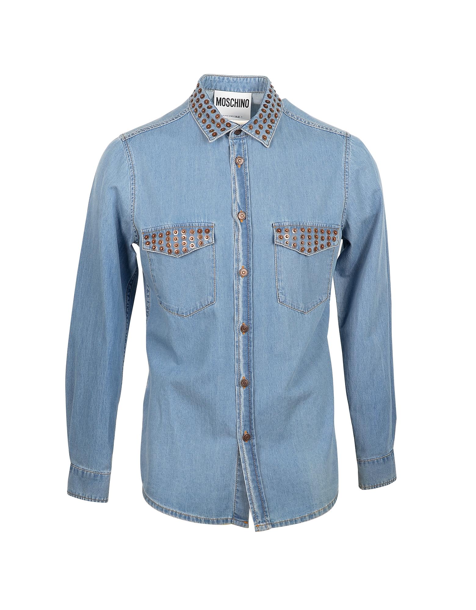 Moschino Designer Shirts, Blue Denim Men's Shirt w/Studs