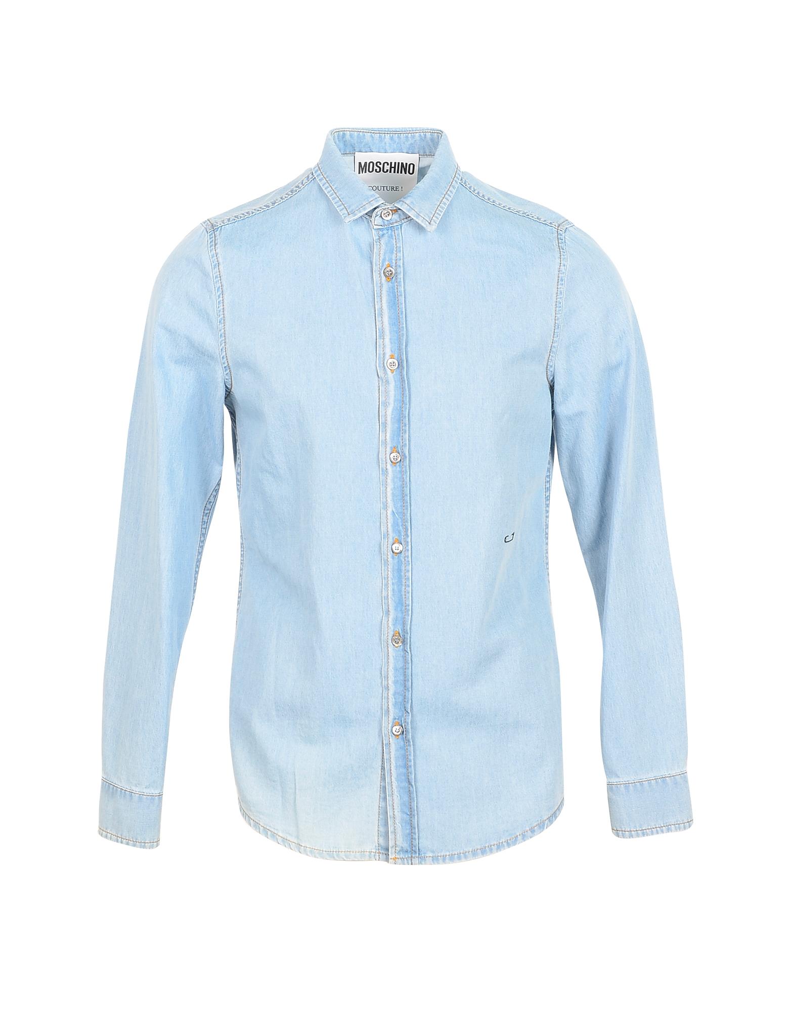 Moschino Designer Shirts, Blue Denim Men's Shirt w/Signature Embroidery