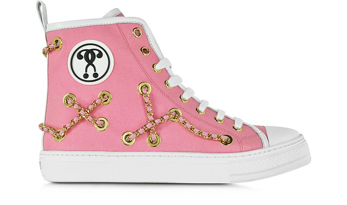 Pink Canvas Flat Sneaker - Moschino