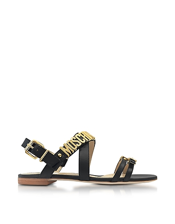 Moschino - Black Leather Flat Sandal w/Golden Buckles