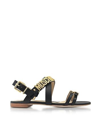 Black Leather Flat Sandal w/Golden Buckles