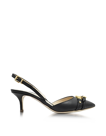 Black Leather Mid-heel Sandal w/Golden Buckles
