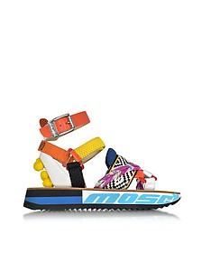 Techno Multicolor Fabric & Leather Platform Sandal w/Pompon - Moschino