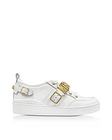 White Leather Lace Up Sneaker w/Signature Logo - Moschino