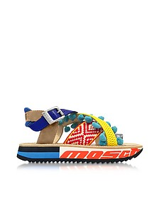 Techno Multicolor Fabric & Leather Platform Sandal w/Light Blue Pompom - Moschino