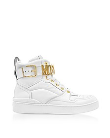 Sneakers Montantes Femme en Cuir Blanc Optique avec Signature Logo - Moschino