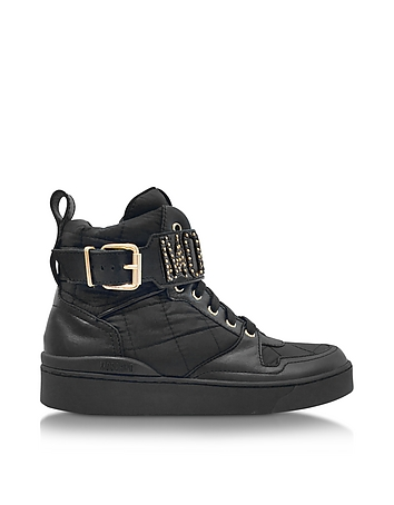 Moschino - Black Quilted Nylon High Top Sneakers