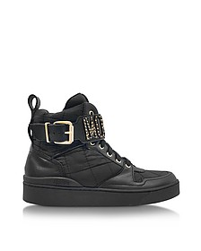 Black Quilted Nylon High Top Sneakers - Moschino