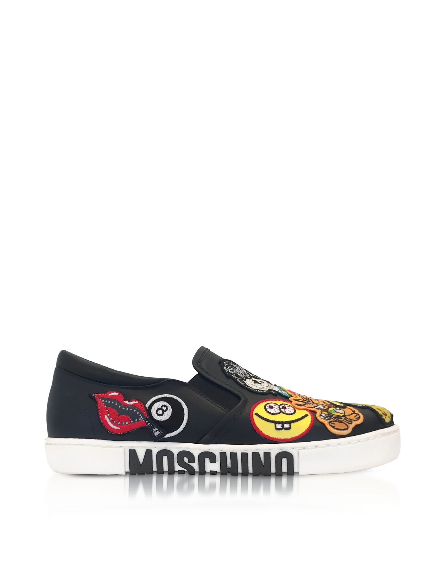 Moschino Shoes, Black Leather Slip On Sneakers w/Patches