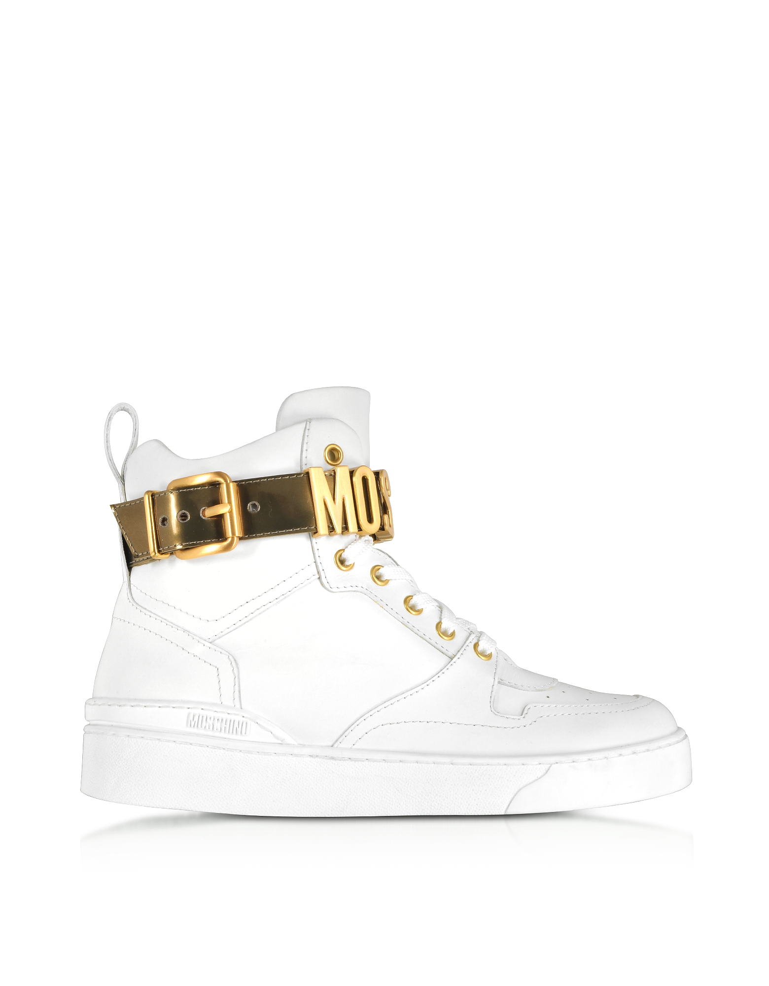 Moschino Shoes, Optic White Leather High Top Sneakers w/Gold Tone Signature Logo