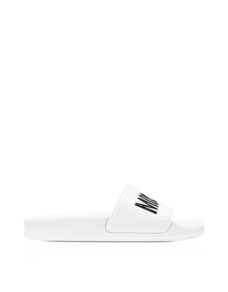 Moschino White Pool Slider Sandals w Black Signature Logo
