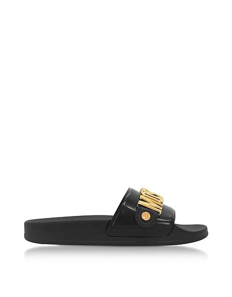 Moschino Black Pool Slider Sandals w Golden Metal Signature Logo