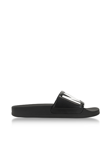 Moschino Black Pool Slider Sandals w White Signature Logo