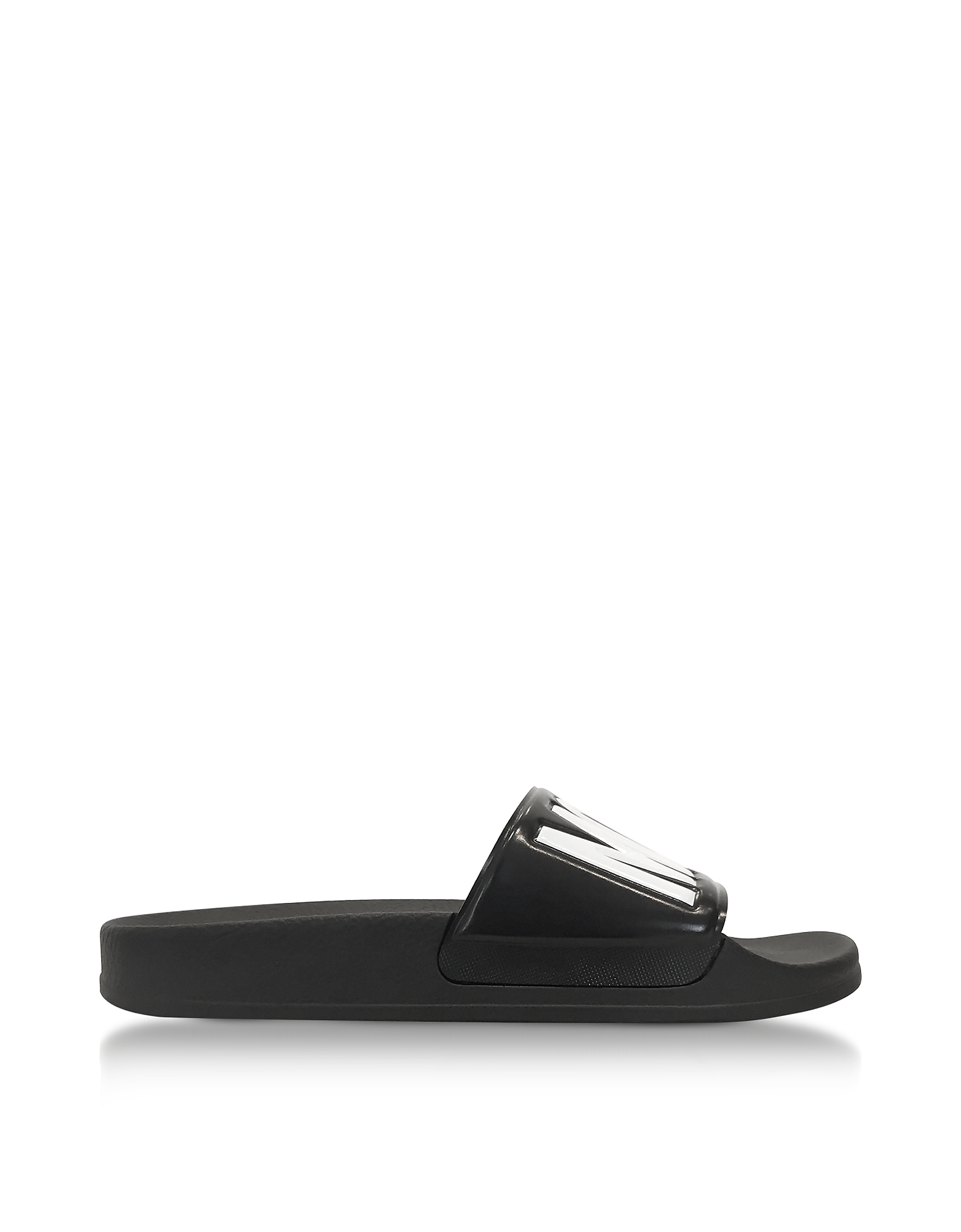 Moschino Shoes, Black Pool Slider Sandals w/White Signature Logo