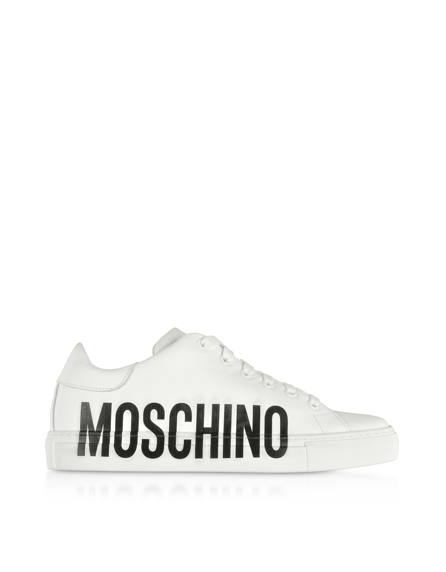 Moschino Shoes, Logo Print White Leather Sneakers