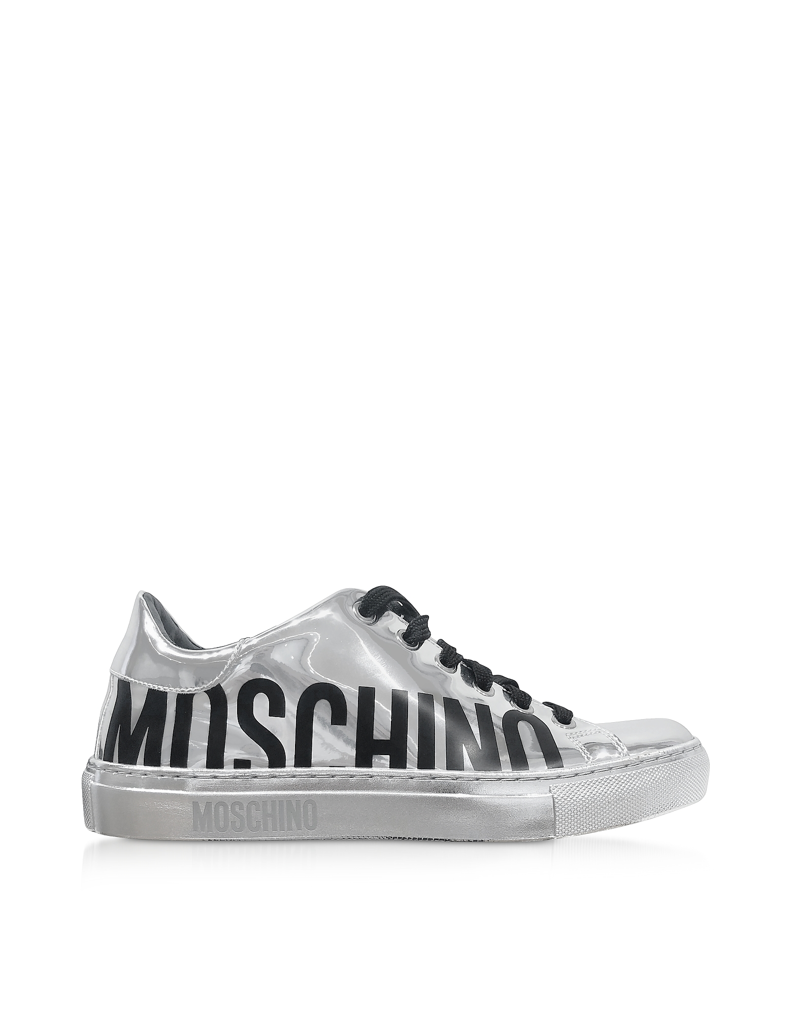 Signature Silver Laminated Leather Women's Sneakers