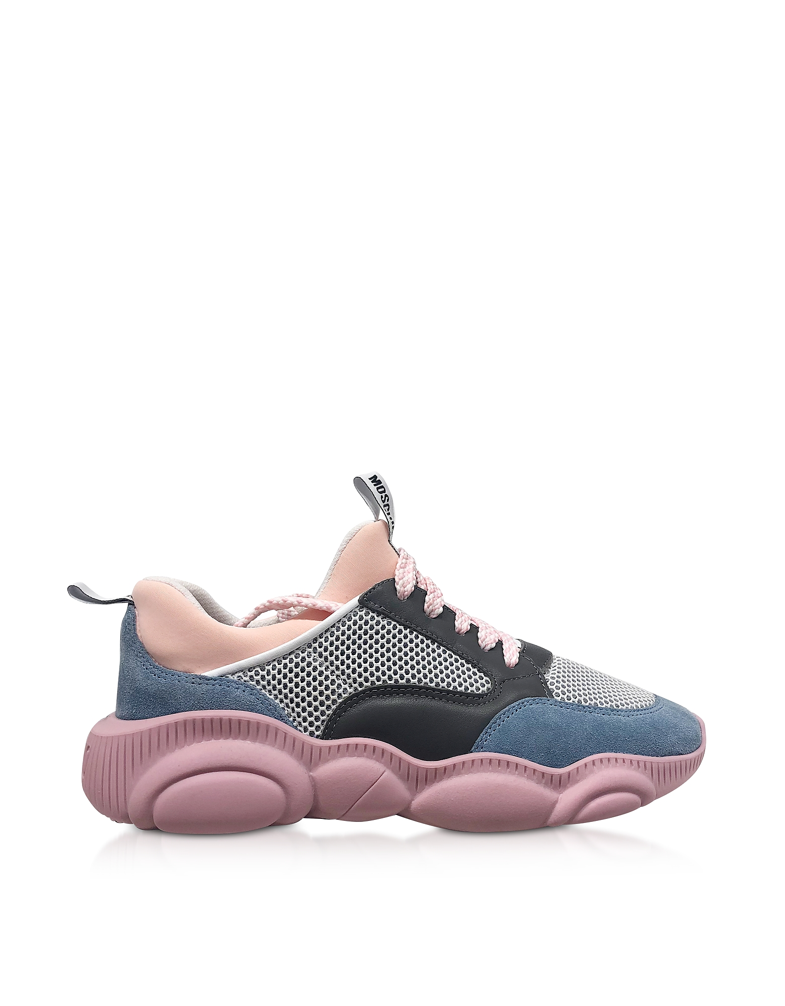 Teddy Run Gray Mesh and Pink Leather Women's Sneakers
