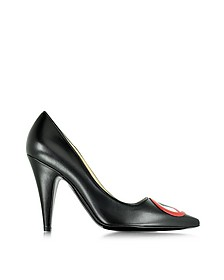 No Heels Black Leather Pump - Moschino