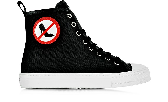 No Heels Black Canvas High Top Sneaker - Moschino