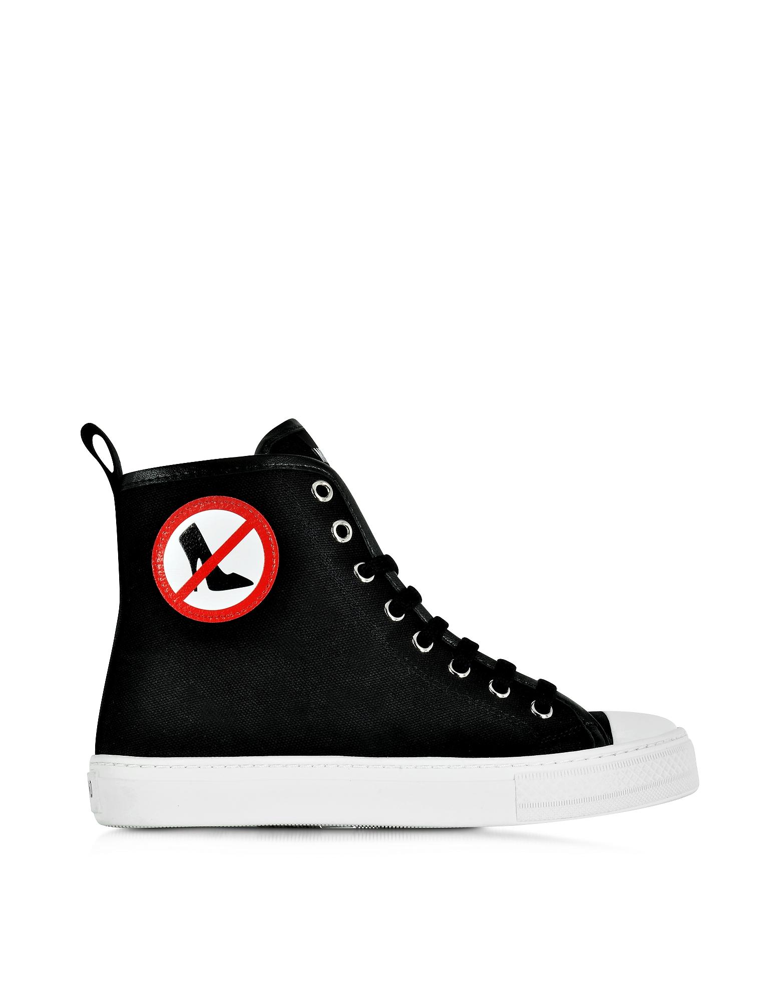 No Heels - Высокие Черные Кроссовки из Ткани