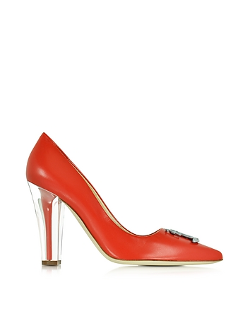 Clear Heel Red Leather Pump
