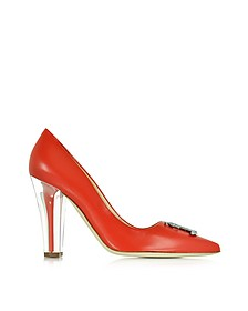 Clear Heel Red Leather Pump - Moschino