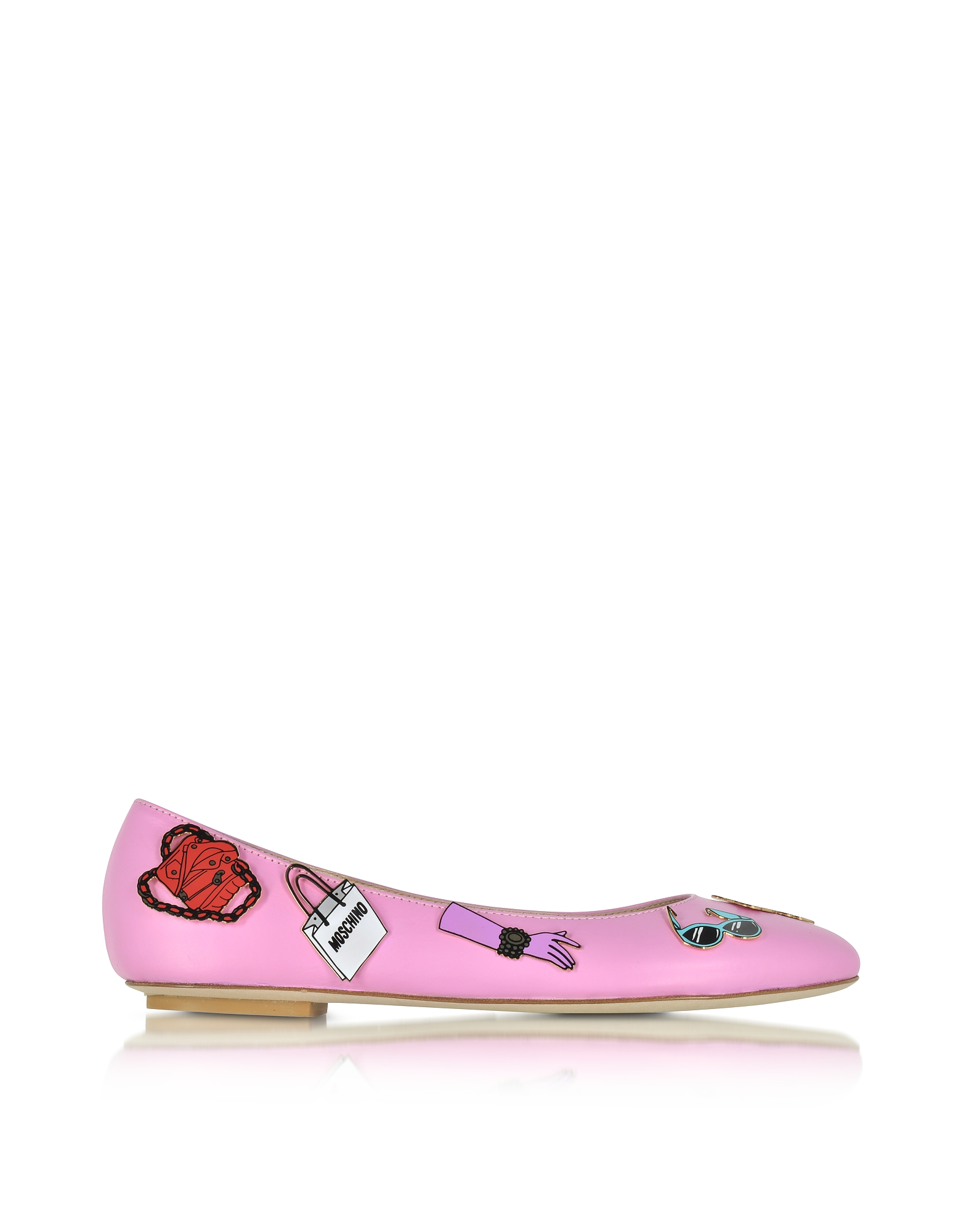 Фото Розовые Кожаные Балетки на Плоской Подошве со Значками. Купить с доставкой