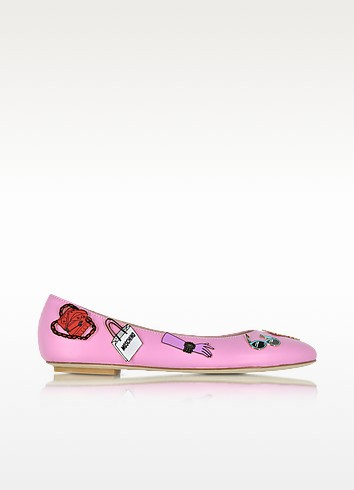 Pink Leather Flat Ballerinas w/Pins - Moschino